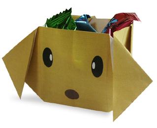 折纸小狗形状的糖果盒和步骤图解