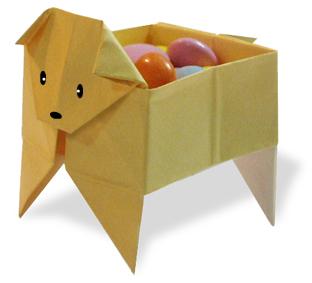折纸小狗储物盒的方法和步骤图解