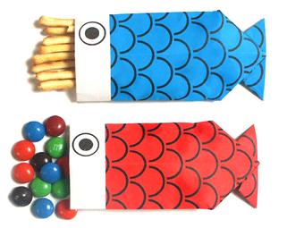 折纸鲤鱼形状的糖果盒和步骤图解