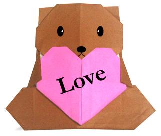 爱心小熊的折纸和步骤图解