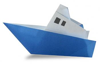 轮船的折纸和步骤图解