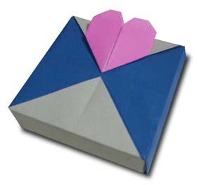 折纸心形盒子折纸和步骤图解 02