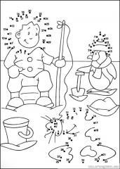 数字连线画人物:钓鱼