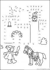 数字连线画人物:王子和白马