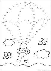 数字连线画人物:跳伞