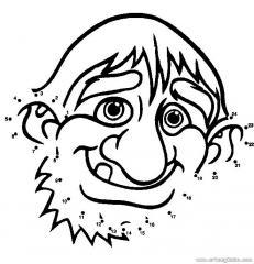 数字连线画:卡通老人