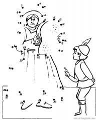 数字连线画人物:男孩和仆人