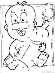 数字连线画:卡通婴儿
