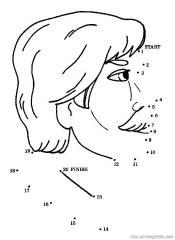 数字连线画人物:人物头像