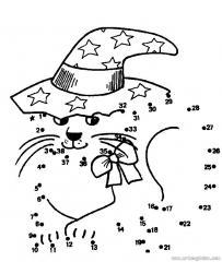 数字连线画:卡通小猫