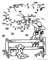 数字连线画人物:放牛的女孩