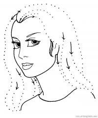 数字连线画人物:女士