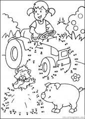 数字连线画:卡通女孩