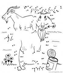 数字连线画:山羊吃草