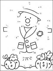 数字连线画:稻草人