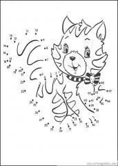 数字连线画:花猫
