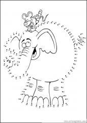 数字连线画:大象和老鼠
