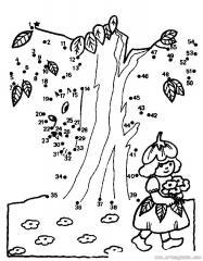 数字连线画人物:菜花的女孩