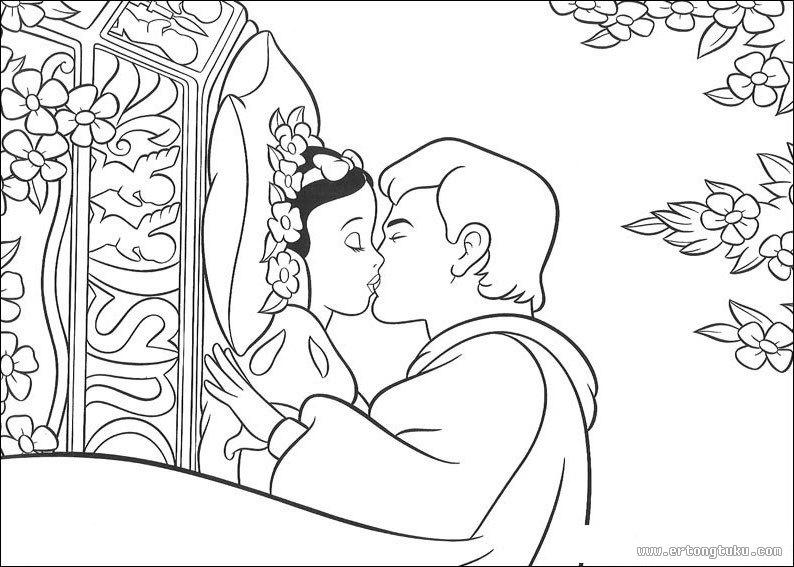 白雪公主图片填色画_童话故事填色图片-儿童图库