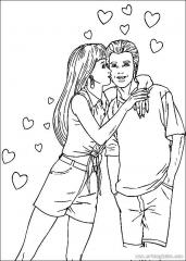 情人节之吻填色画