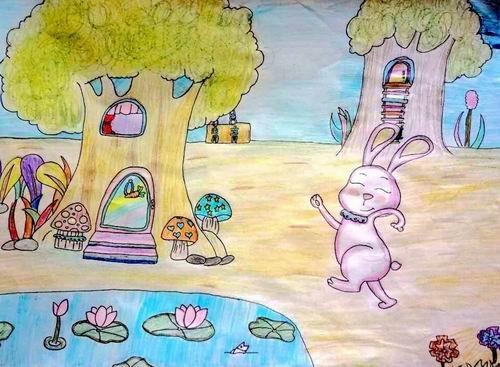 儿童水彩画银奖作品:放学啦,参赛年龄10岁