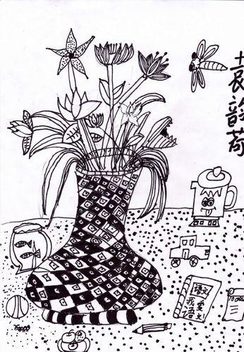 银奖线描写生画-花瓶写生
