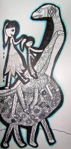 银奖线描画-女孩与恐龙