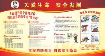 关爱生命安全发展消防安全知识展板