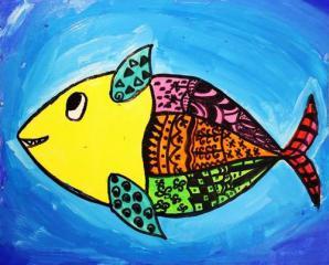 优秀奖水粉画-深海里的鱼