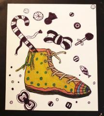 铜奖水彩画-鞋子的想象