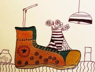 金奖水彩画-鞋子的想象