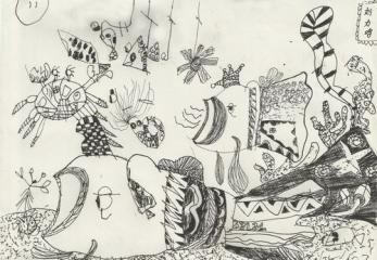金奖儿童线描画-海底世界