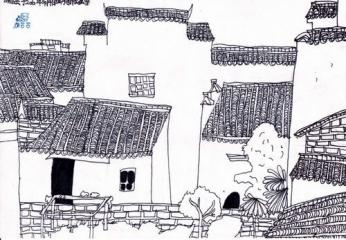 金奖线描写生画-建筑写生