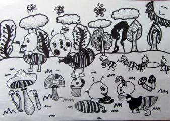 优秀奖线描画-可爱的小蚂蚁