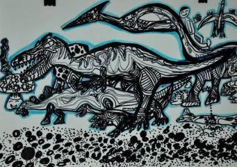铜奖线描画-恐龙时代