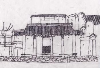 铜奖线描写生画-建筑写生