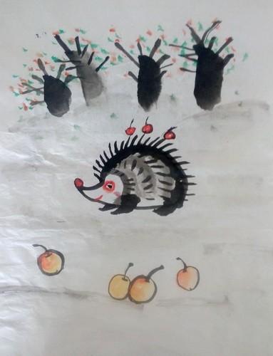 铜奖中国画-刺猬
