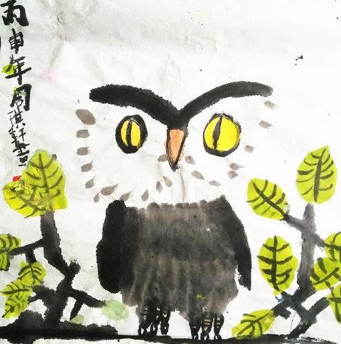 银奖中国画-猫头鹰