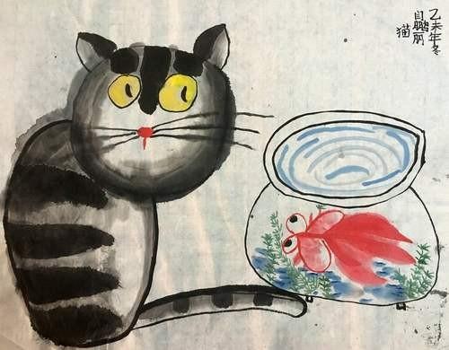 金奖中国画-想吃鱼的猫