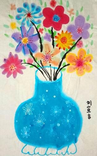 银奖趣味水墨画-花与瓶