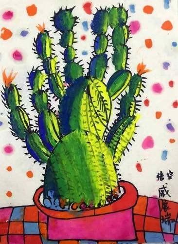 儿童水墨画银奖作品:仙人掌,参赛年龄6岁