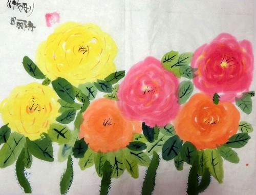 儿童水墨画银奖作品:牡丹,参赛年龄8岁