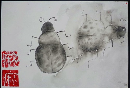 金奖水墨画-瓢虫