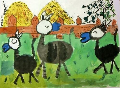 儿童水墨画铜奖作品:小毛驴,参赛年龄8岁