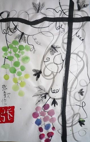 儿童水墨画优秀奖作品:葡萄架,参赛年龄6岁