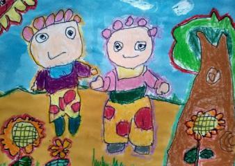 优秀奖儿童油棒画-花园宝宝