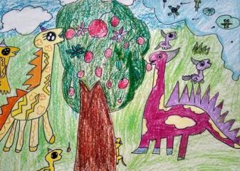 银奖儿童油棒画-恐龙
