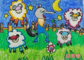 优秀奖油棒画-狼和小羊