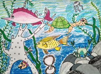 金奖儿童油棒画-海底世界