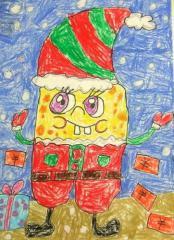 优秀奖油棒画-海绵宝宝过圣诞